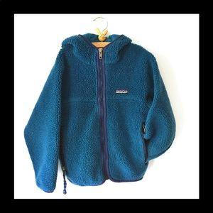 Patagonia children's blue zip up fleece jacket 6